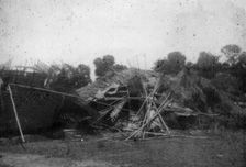 Hurricane damage to 211 Squadron quarters, Chiringa May 1945