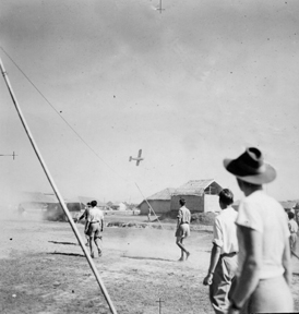 L5 Sentinel over the 211 Squadron football match, Chiringa, Christmas 1944