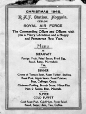 Christmas 1945: RAF Koggala Christmas Day menu